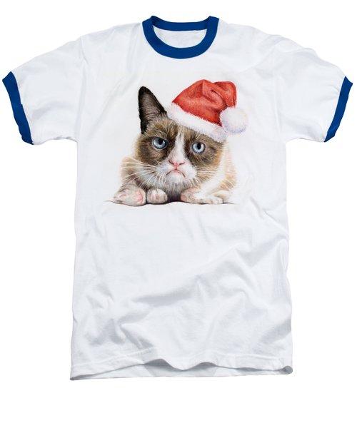 Grumpy Cat As Santa Baseball T-Shirt by Olga Shvartsur