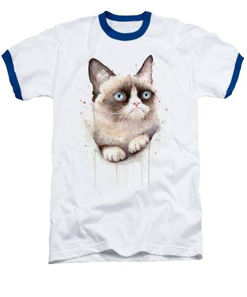 Grumpy Cat Watercolor Baseball T-Shirt by Olga Shvartsur