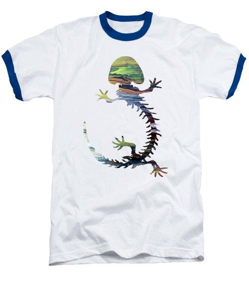 Hellbender Skeleton Baseball T-Shirt by Mordax Furittus