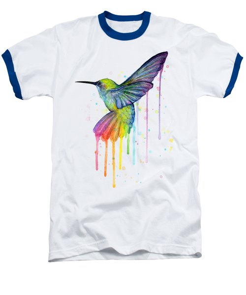 Hummingbird Of Watercolor Rainbow Baseball T-Shirt by Olga Shvartsur