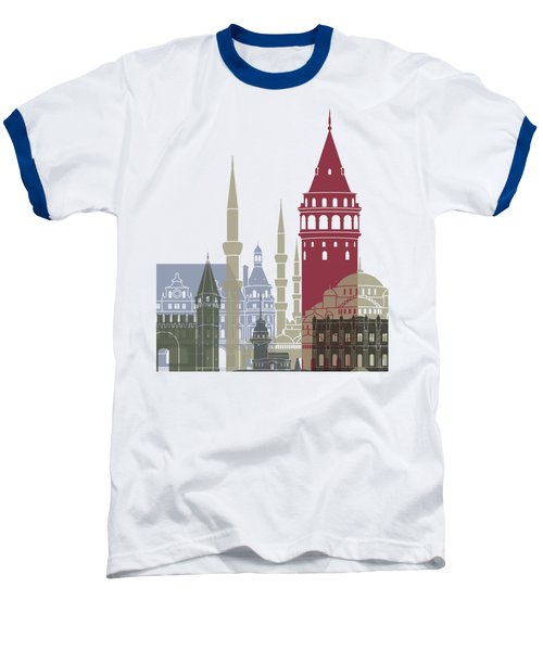 Istanbul Skyline Poster Baseball T-Shirt by Pablo Romero