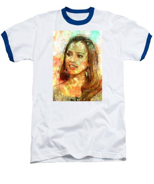 Jessica Alba Baseball T-Shirt by Elena Kosvincheva