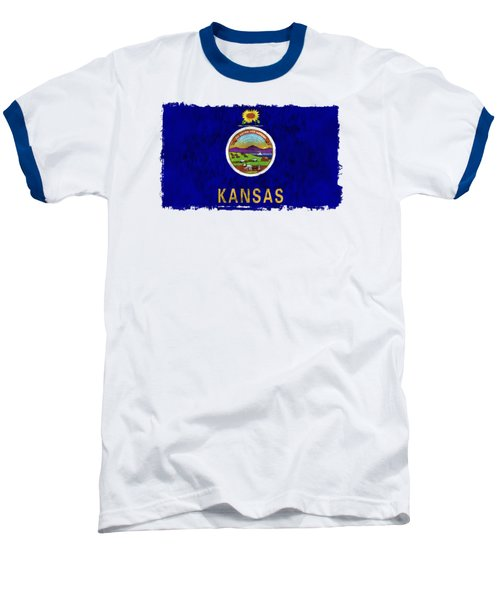 Kansas Flag Baseball T-Shirt by World Art Prints And Designs