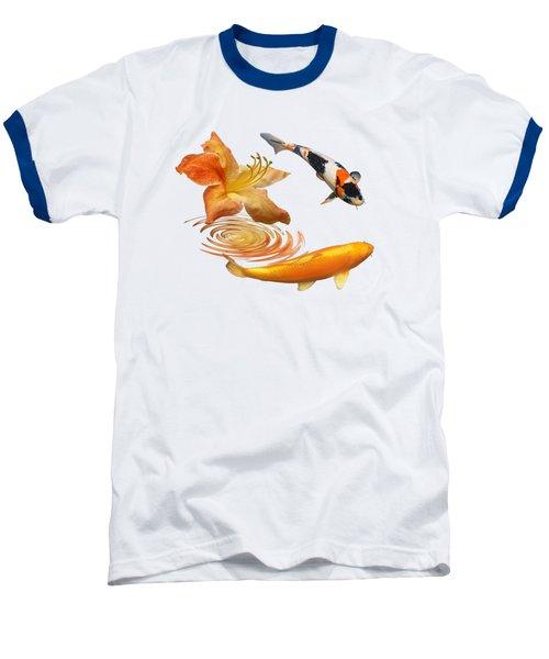 Koi With Azalea Ripples Baseball T-Shirt by Gill Billington