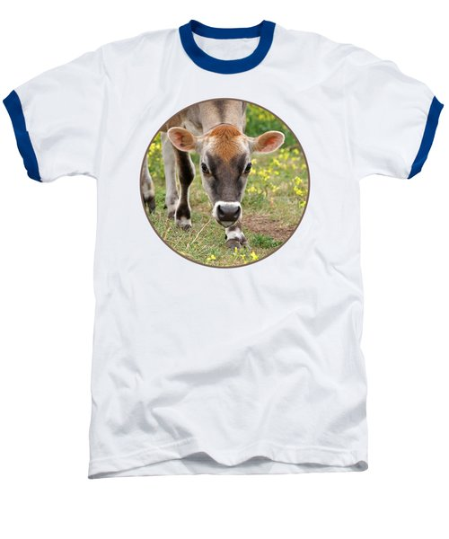 Look Into My Eyes - Jersey Cow - Square Baseball T-Shirt by Gill Billington