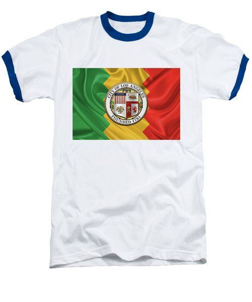Los Angeles City Seal Over Flag Of L.a. Baseball T-Shirt by Serge Averbukh