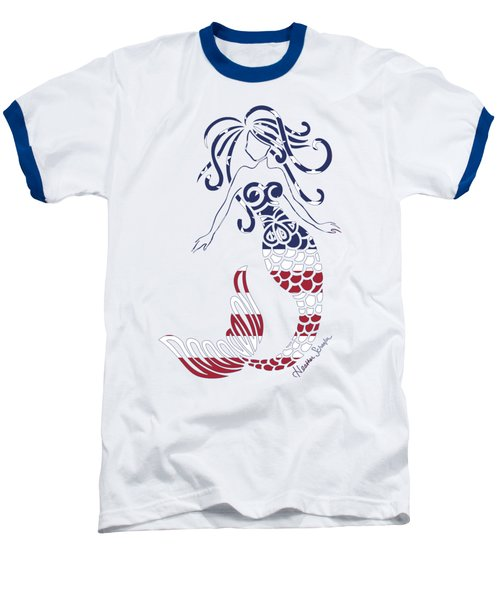 Made In The Usa Tribal Mermaid Baseball T-Shirt by Heather Schaefer