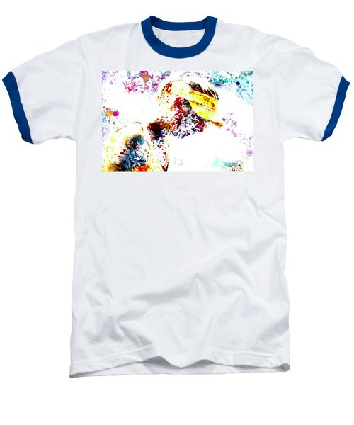 Maria Sharapova Paint Splatter 4p                 Baseball T-Shirt by Brian Reaves