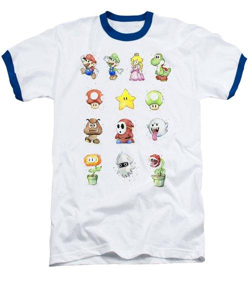 Mario Characters In Watercolor Baseball T-Shirt by Olga Shvartsur