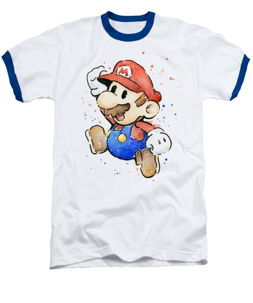 Mario Watercolor Fan Art Baseball T-Shirt by Olga Shvartsur