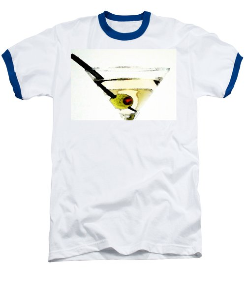Martini With Green Olive Baseball T-Shirt by Sharon Cummings