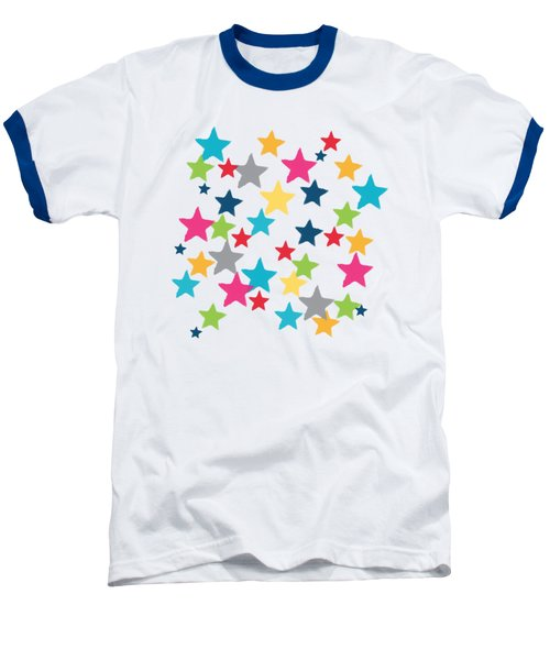 Messy Stars- Shirt Baseball T-Shirt by Linda Woods