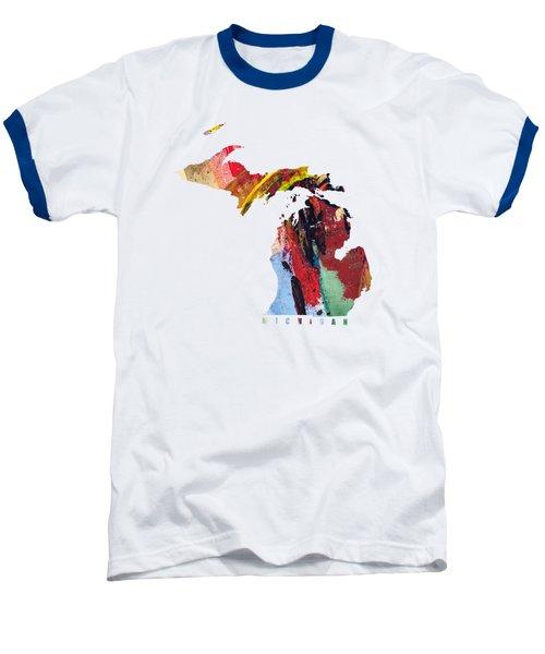 Michigan Map Art - Painted Map Of Michigan Baseball T-Shirt by World Art Prints And Designs