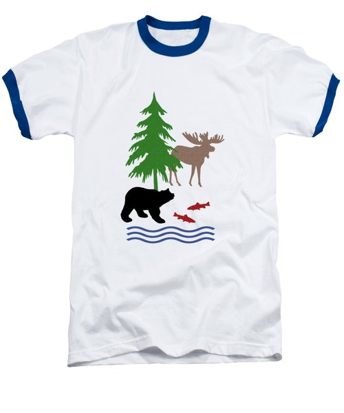 Moose And Bear Pattern Aged Baseball T-Shirt by Christina Rollo