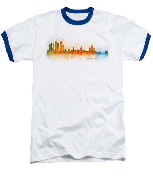 Moscow City Skyline Hq V3 Baseball T-Shirt by HQ Photo