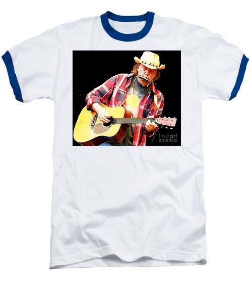Neil Young Baseball T-Shirt by John Malone