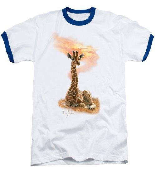 Newborn Giraffe Baseball T-Shirt by Lucie Bilodeau