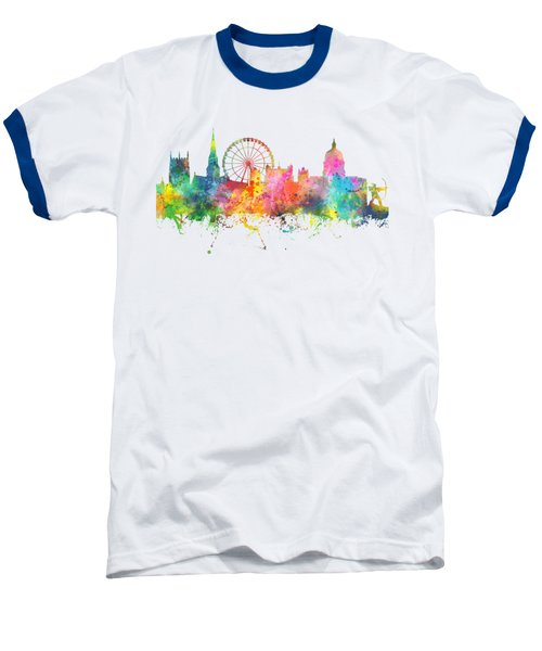 Nottingham  England Skyline Baseball T-Shirt by Marlene Watson