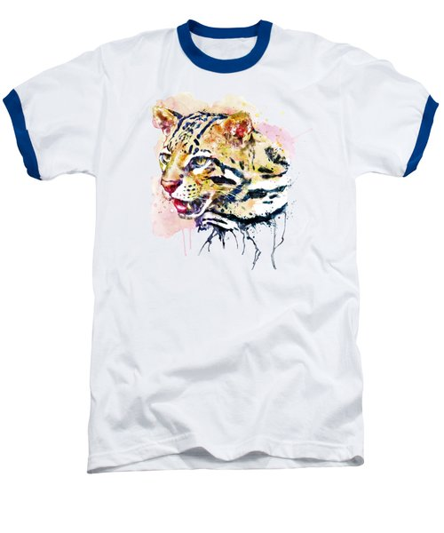 Ocelot Head Baseball T-Shirt by Marian Voicu