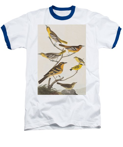 Orioles Thrushes And Goldfinches Baseball T-Shirt by John James Audubon