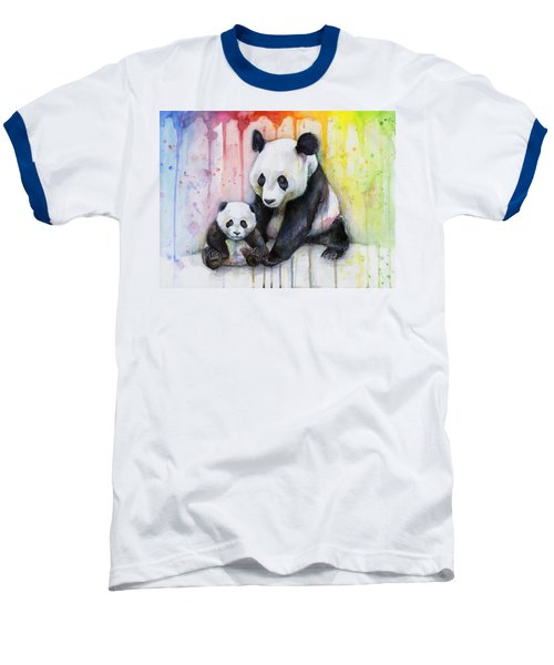 Panda Watercolor Mom And Baby Baseball T-Shirt by Olga Shvartsur