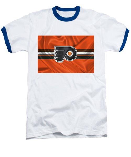 Philadelphia Flyers - 3 D Badge Over Silk Flag Baseball T-Shirt by Serge Averbukh
