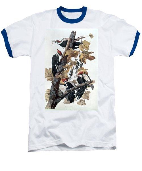 Pileated Woodpeckers Baseball T-Shirt by John James Audubon