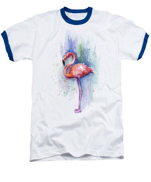 Pink Flamingo Watercolor Baseball T-Shirt by Olga Shvartsur