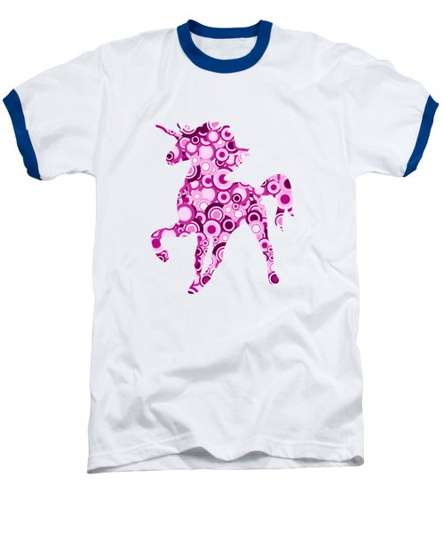 Pink Unicorn - Animal Art Baseball T-Shirt by Anastasiya Malakhova