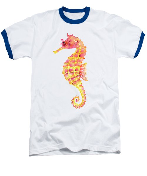 Pink Yellow Seahorse - Square Baseball T-Shirt by Amy Kirkpatrick