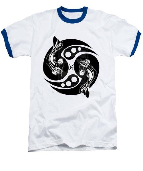 Pisces Koi Baseball T-Shirt by  Fli Art