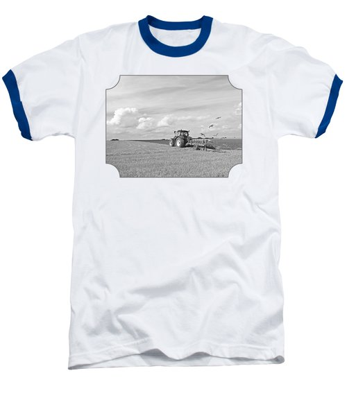 Ploughing After The Harvest In Black And White Baseball T-Shirt by Gill Billington