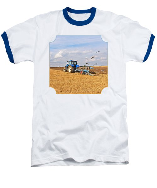 Ploughing After The Harvest - Square Baseball T-Shirt by Gill Billington