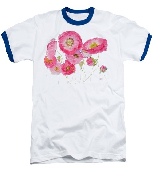 Poppy Painting On White Background Baseball T-Shirt by Jan Matson