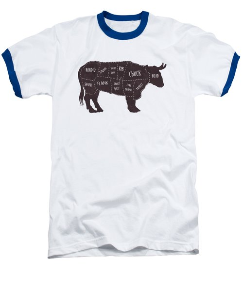 Primitive Butcher Shop Beef Cuts Chart T-shirt Baseball T-Shirt by Edward Fielding