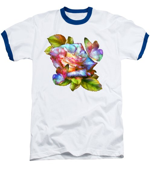 Rainbow Rose And Butterflies Baseball T-Shirt by Carol Cavalaris