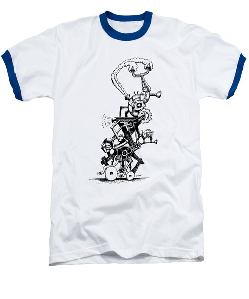 Rat Reverse-cycle Steam Engine Baseball T-Shirt by Kim Gauge