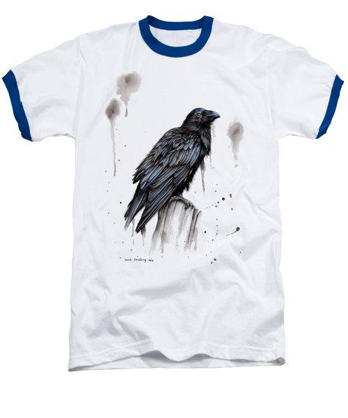 Raven  Baseball T-Shirt by Sarah Stribbling
