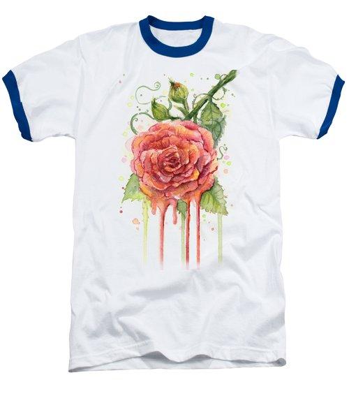 Red Rose Dripping Watercolor  Baseball T-Shirt by Olga Shvartsur