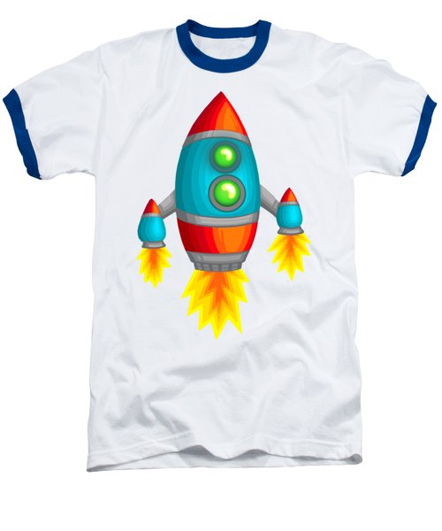 Retro Rocket Baseball T-Shirt by Brian Kemper