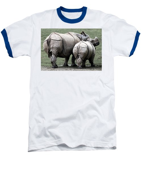 Rhinoceros Mother And Calf In Wild Baseball T-Shirt by Daniel Hagerman