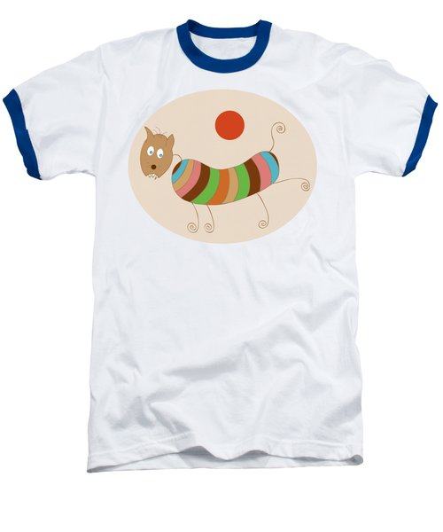 Sausage Dog In Ketchup Sunset Baseball T-Shirt by Frank Tschakert