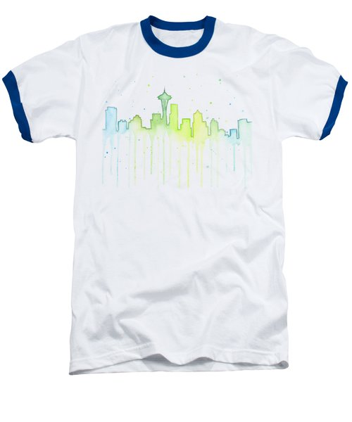 Seattle Skyline Watercolor  Baseball T-Shirt by Olga Shvartsur