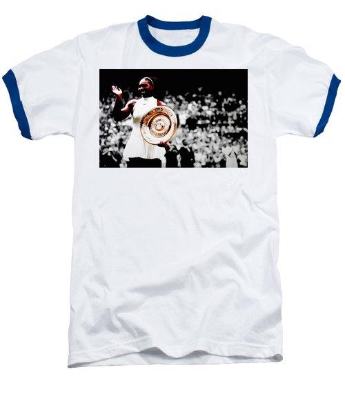 Serena 2016 Wimbledon Victory Baseball T-Shirt by Brian Reaves