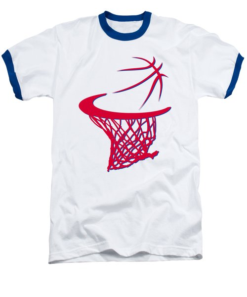 Sixers Basketball Hoop Baseball T-Shirt by Joe Hamilton
