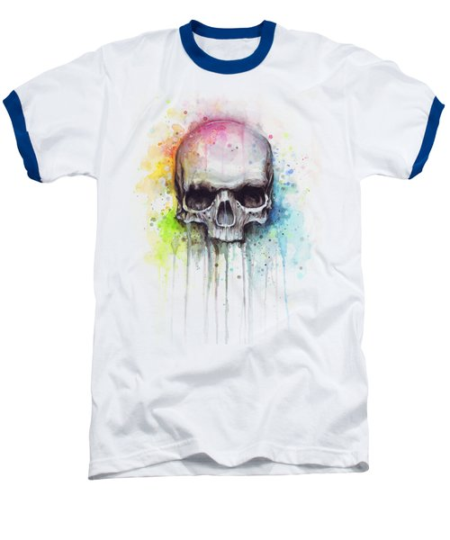Skull Watercolor Painting Baseball T-Shirt by Olga Shvartsur