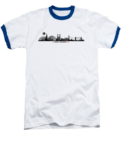 skyline city London black Baseball T-Shirt by Justyna JBJart