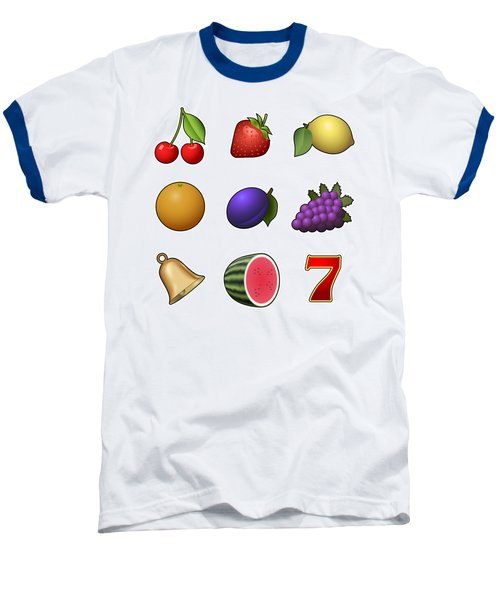 Slot Machine Fruit Symbols Baseball T-Shirt by Miroslav Nemecek