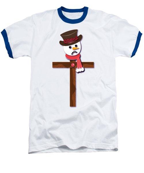 Snowman Christian Cross Baseball T-Shirt by Reggie Hart