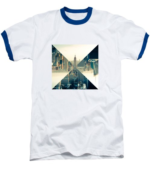 Split Skyline Ny Baseball T-Shirt by Jamie Kingswood